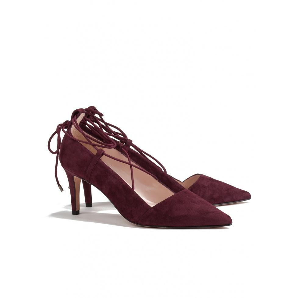 Zapato de salón burdeos de tacón medio-tienda de zapatos Pura López