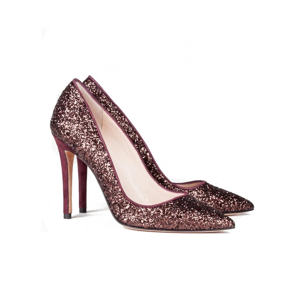High heel pumps in burgundy glitter - online shoe store Pura Lopez