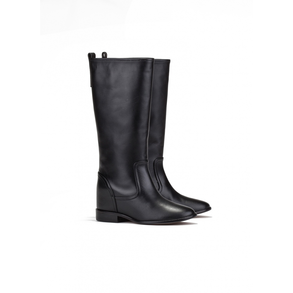 Concealed wedge boots in black leather - online store Pura Lopez