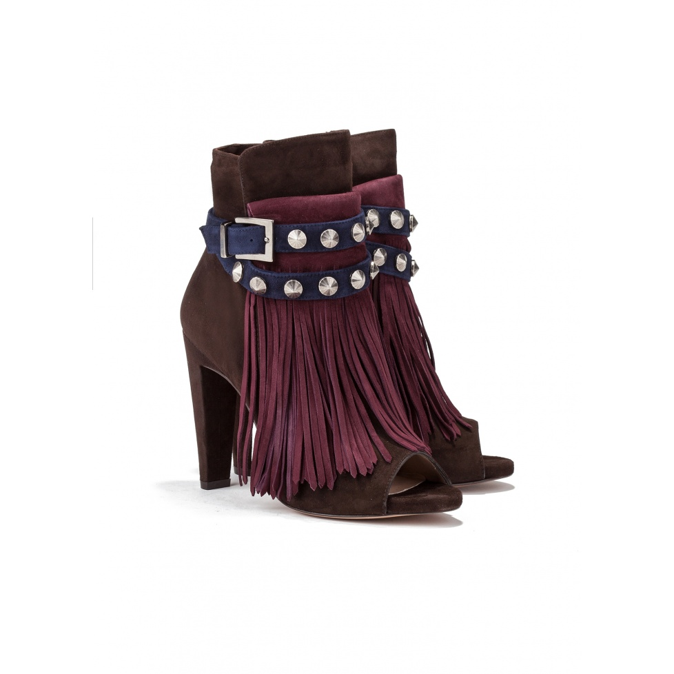 High heel ankle boots in multicolored suede-online store Pura Lopez