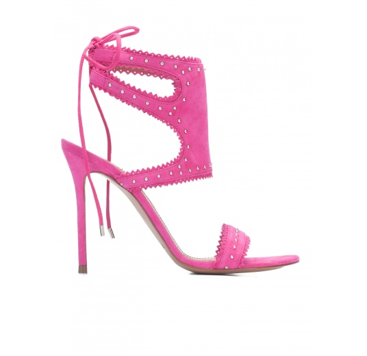 Fuxia lace-up high heel sandals Pura L�pez