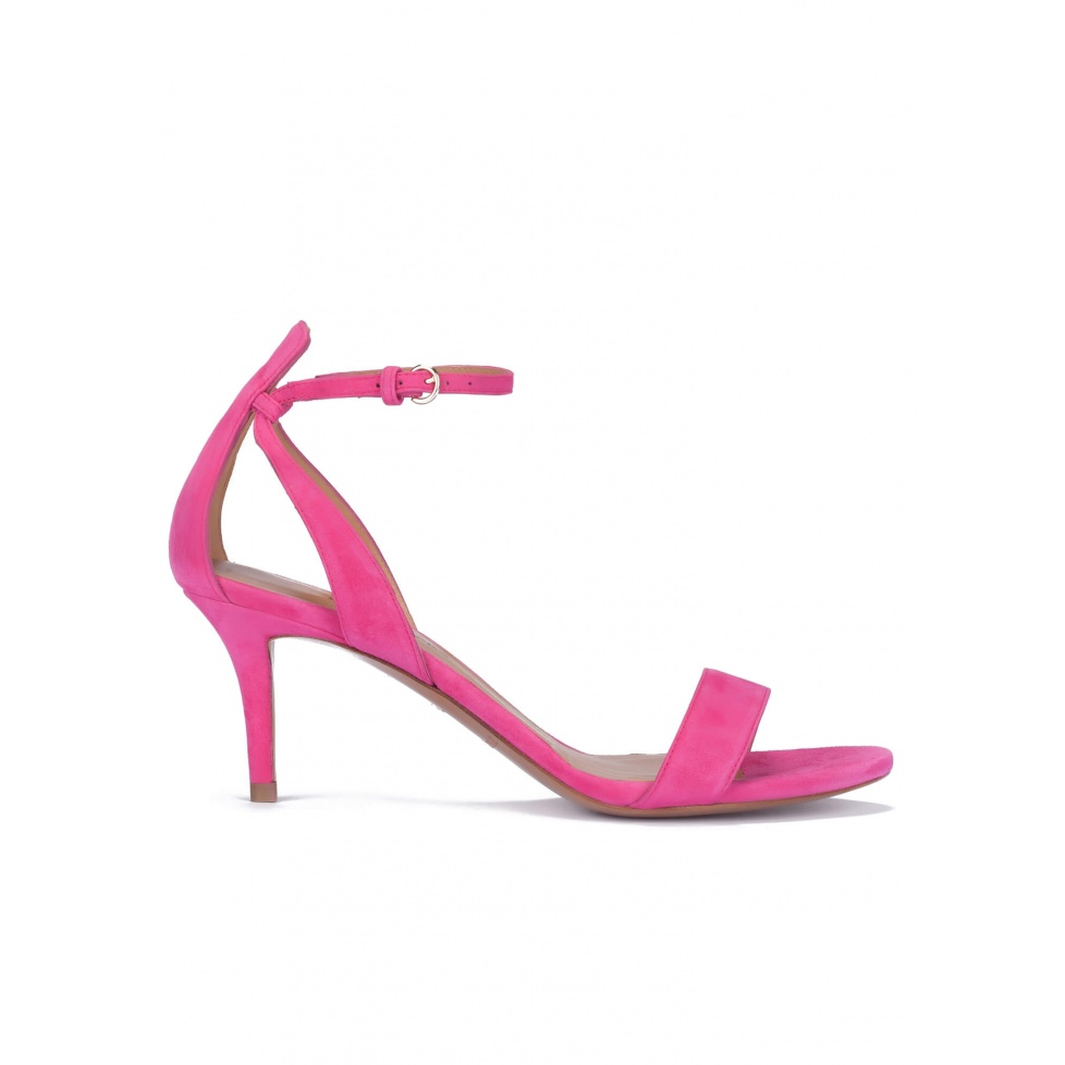 Fuchsia suede ankle strap mid heel sandals