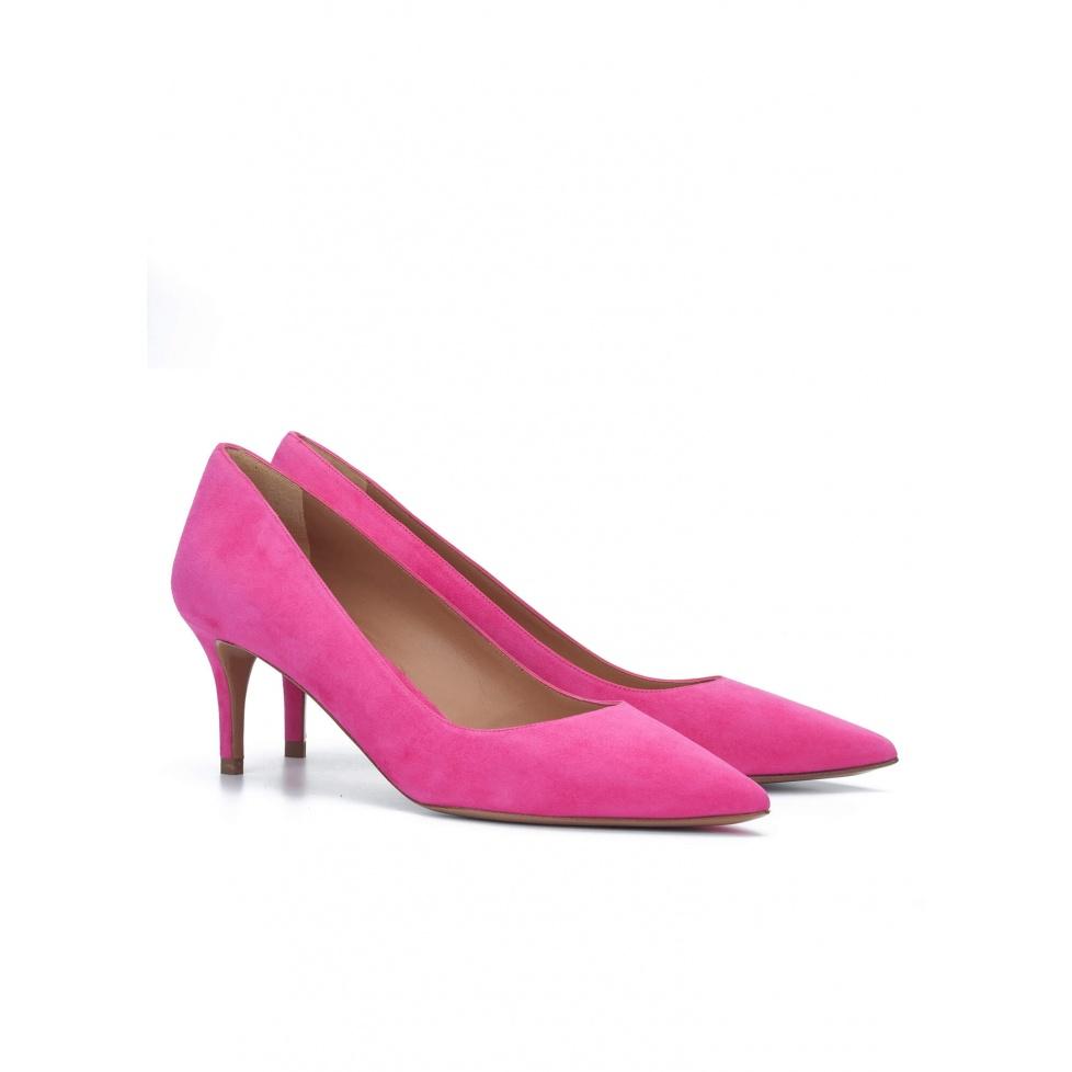 Zapatos fucsia de salón en ante - tienda de zapatos Pura López