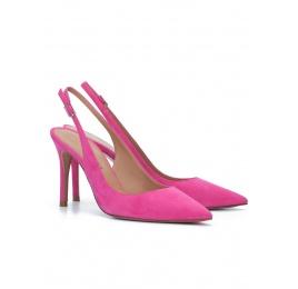 Fuchsia suede slingback heeled pumps Pura López