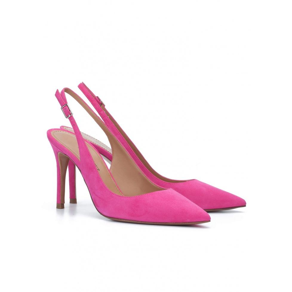 Slingback pumps in fuchsia suede - online shoe store Pura Lopez