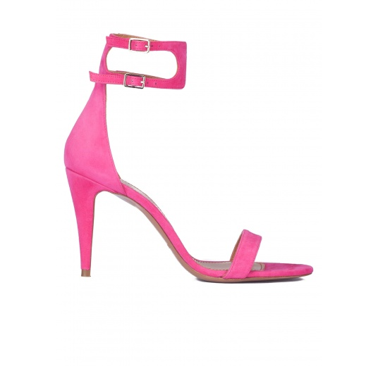 Ankle strap heeled sandals in fuxia suede Pura L�pez
