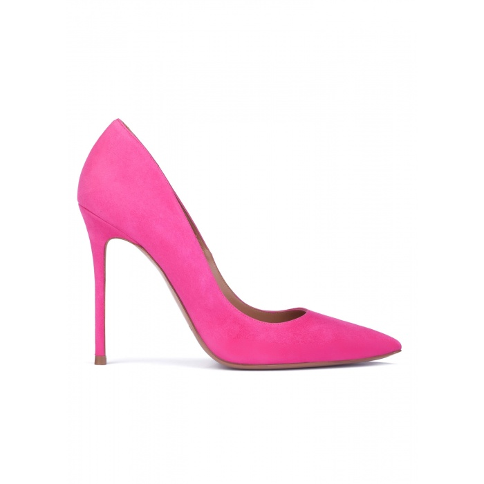 Fuxia suede pointy toe stiletto pumps
