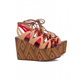 Lace-up wedge sandals in hazelnut Pura López