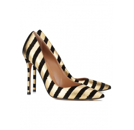 Black-gold striped high heel pumps Pura L�pez