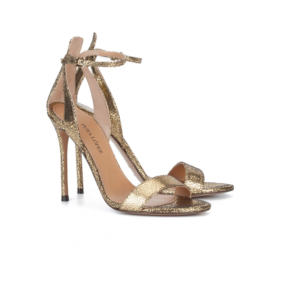 High heel sandals in cracked leather - online shoe store Pura Lopez