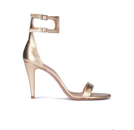 Golden leather heeled sandals Pura L�pez