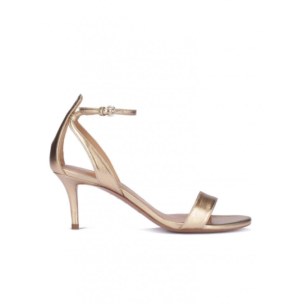 Golden ankle strap mid heel sandals