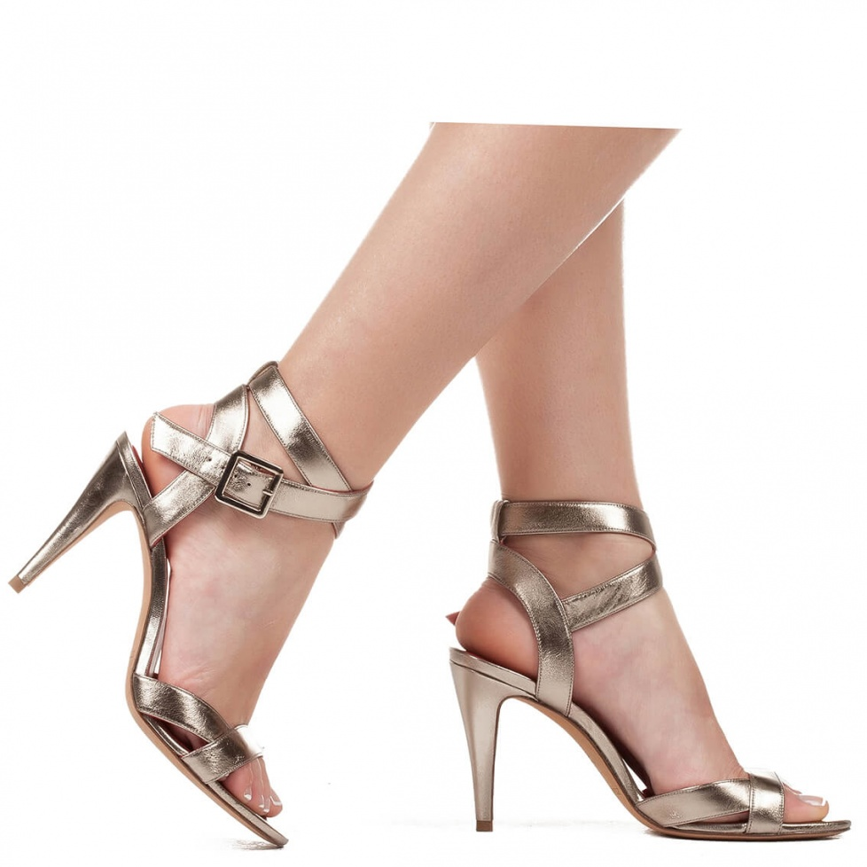 Metallic leather high heel sandals - online shoe store Pura Lopez