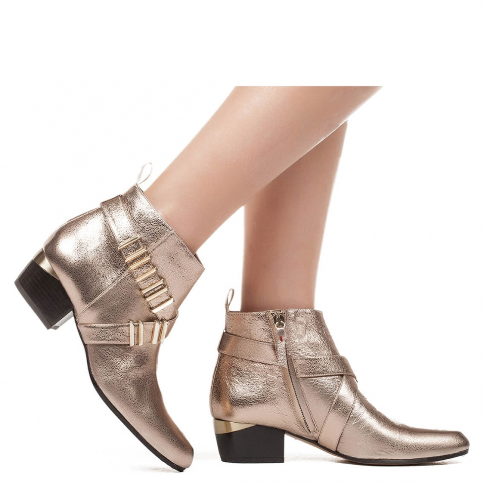 Cuban heel metal leather ankle boot  - online shoe store Pura Lopez
