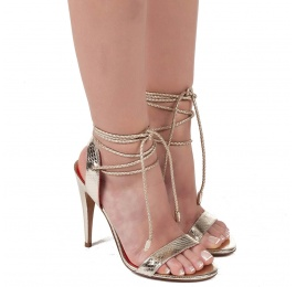 Lace-up high heel sandals in snake metallic leather Pura López