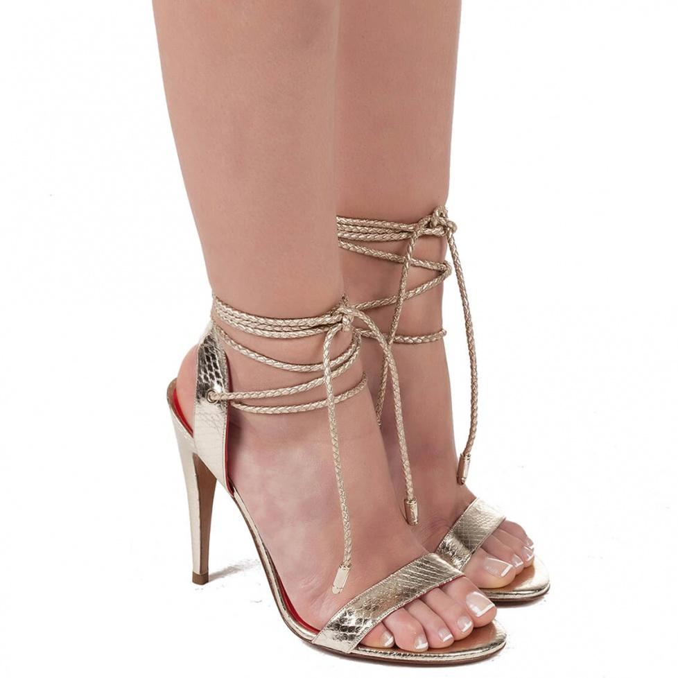 High heel sandals in snake metallic  - online shoe store Pura Lopez