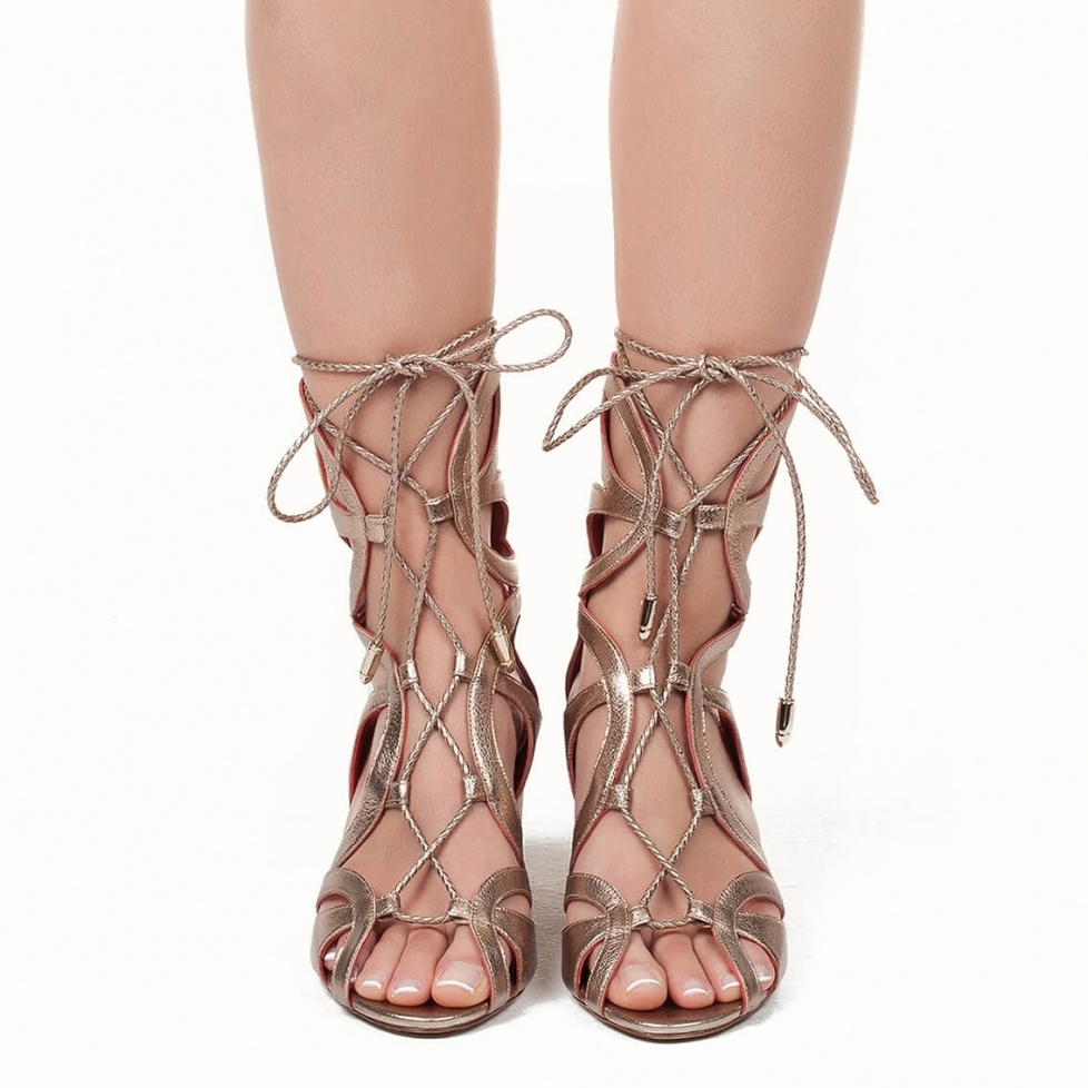 Lace-up mid block heel sandals in champagne metallic leather