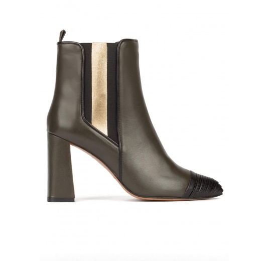 Khaki green leather high block heel ankle boots with elasticated panel Pura L�pez