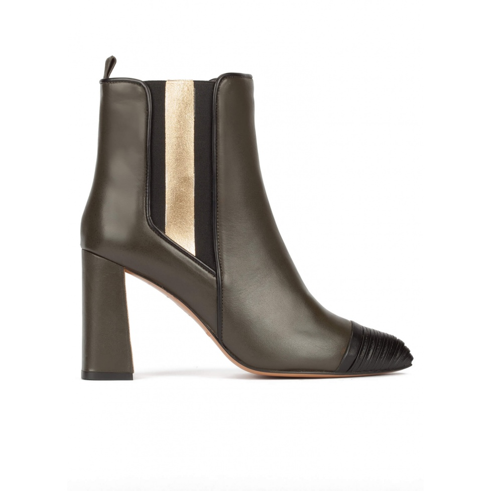 Khaki green leather high block heel ankle boots with elasticated panel