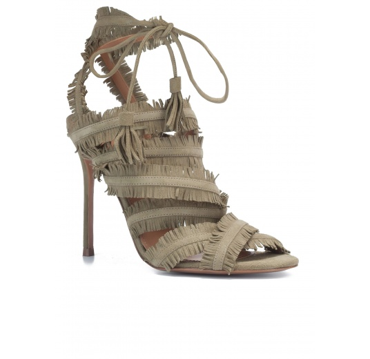 Lace-up high heel sandals in kaki suede Pura L�pez