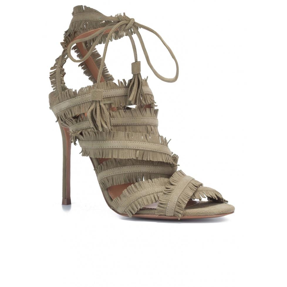 High heel sandals in kaki suede - online shoe store Pura Lopez