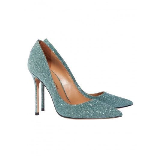 High heel pumps in emerald green glitter Pura L�pez