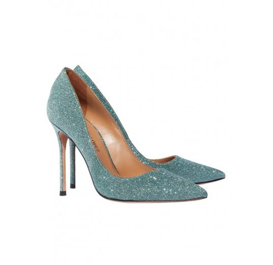 Zapatos de salón con tacón alto en glitter verde esmeralda Pura L�pez