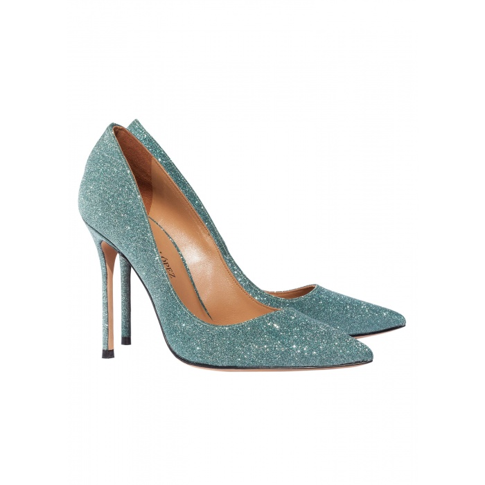 High heel pumps in green glitter - online shoe store Pura Lopez