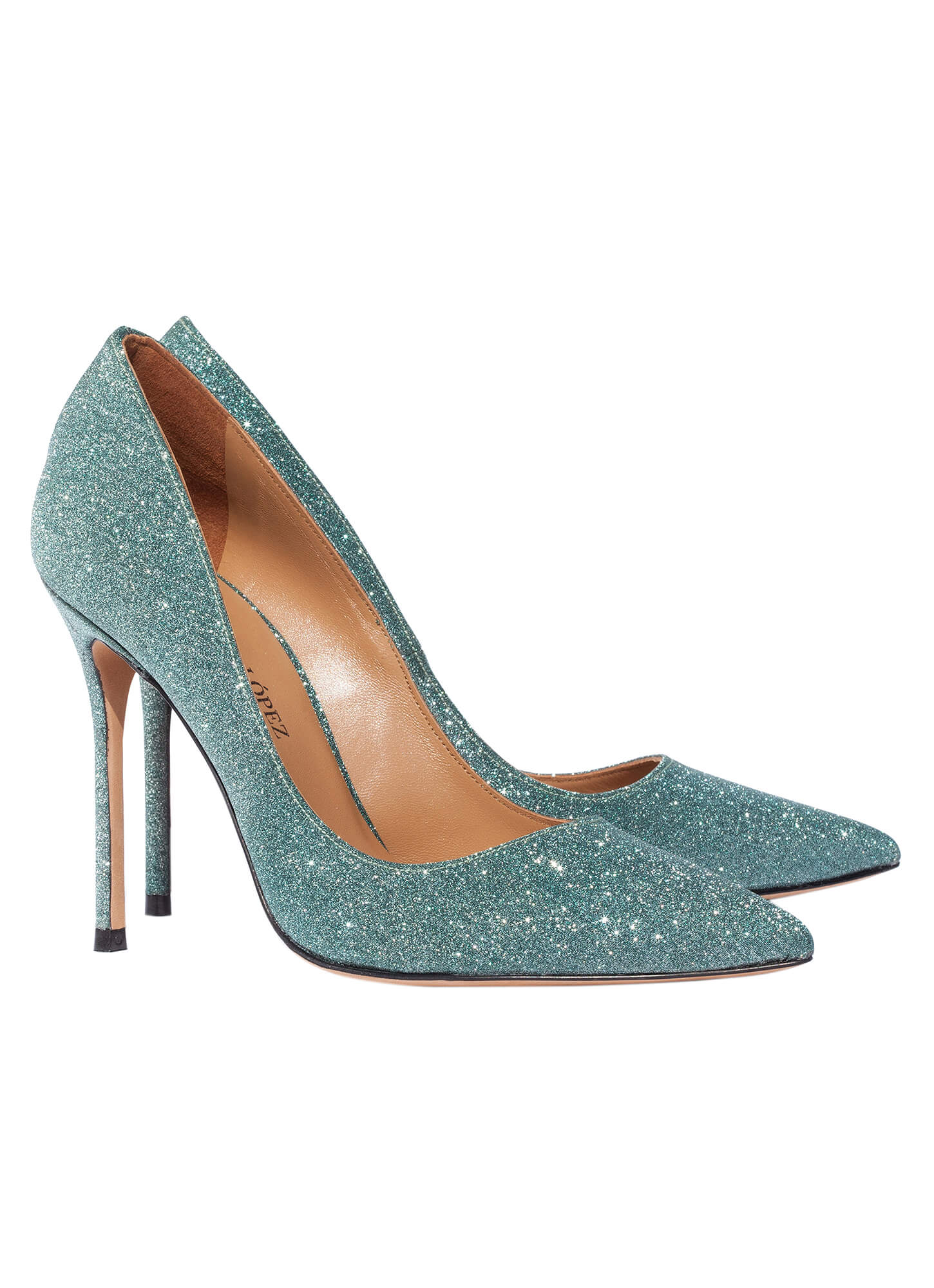 high heel pumps in green glitter online shoe store pura. Black Bedroom Furniture Sets. Home Design Ideas