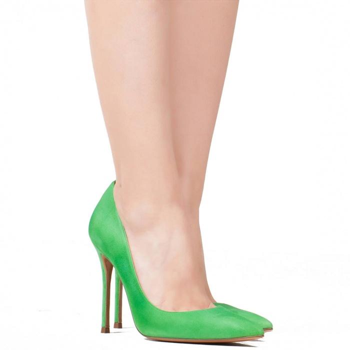 Zapatos de salón en ante verde - tienda de zapatos Pura López