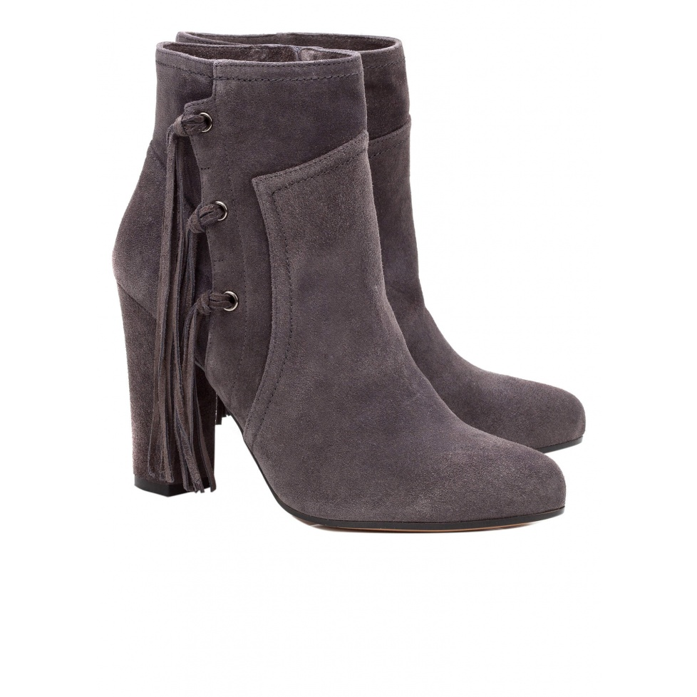 High heel ankle boots in grey suede - online shoe store Pura Lopez
