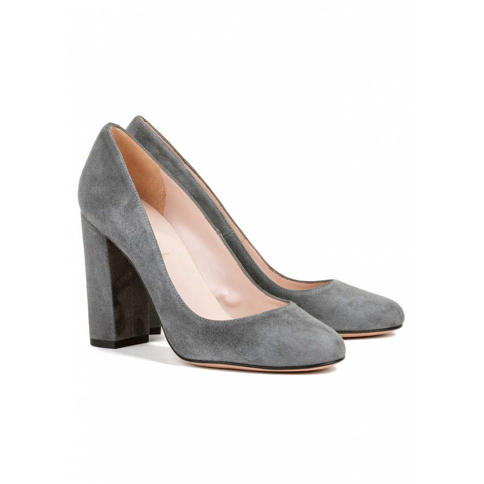Block high heel pumps in grey suede - online shoe store Pura Lopez
