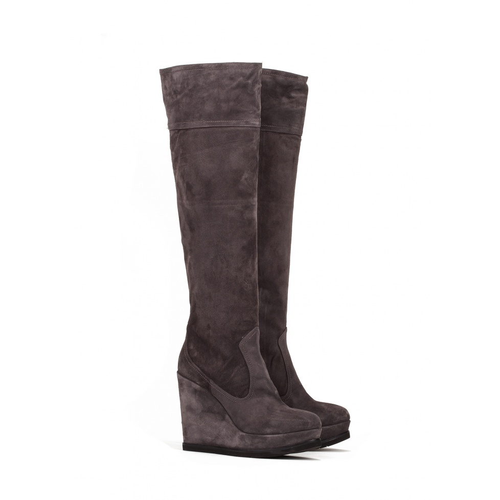 Wedge boots in grey suede - online shoe store Pura Lopez