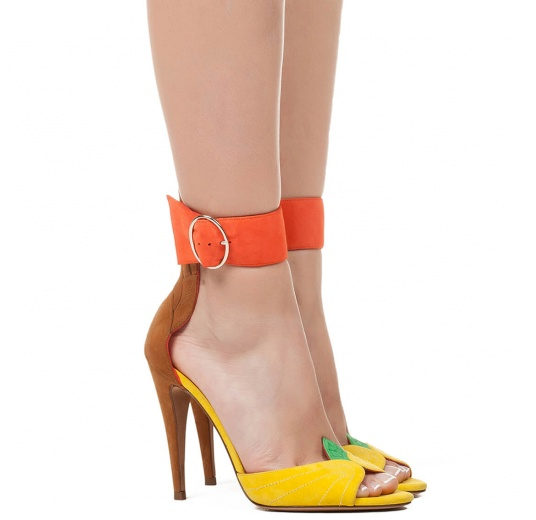 Ankle strap high heel sandals in multicolored suede with leaf detailed heel Pura L�pez
