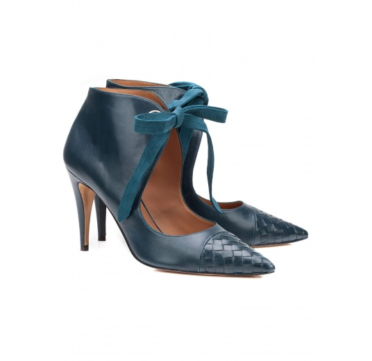 Lace-up high heel shoes in petrol blue leather Pura L�pez