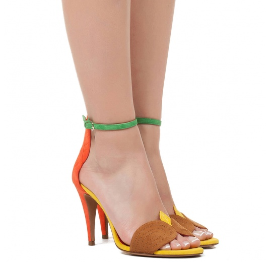 Ankle strap high heel sandals in multicolored suede Pura L�pez