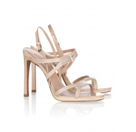 High heel sandals in neutral hues patent leather Pura López