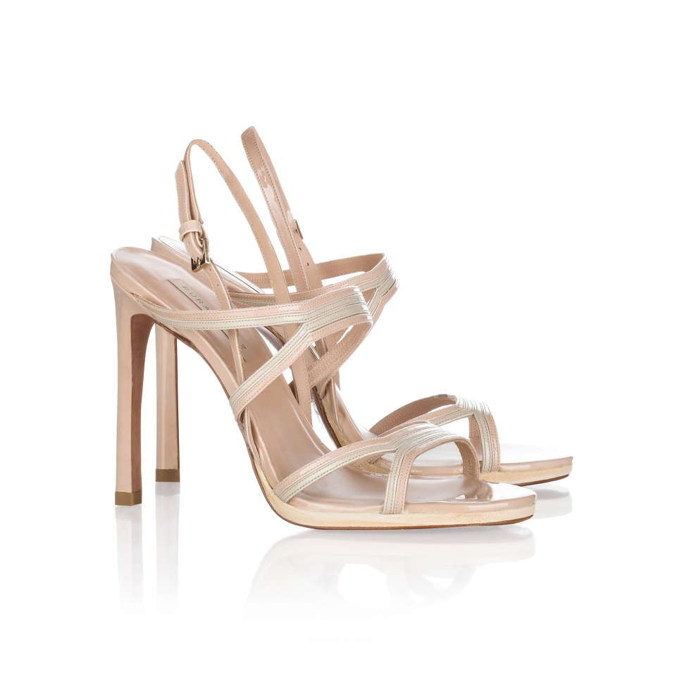 Pura Lopez high heel sandals in neutral hues patent leather