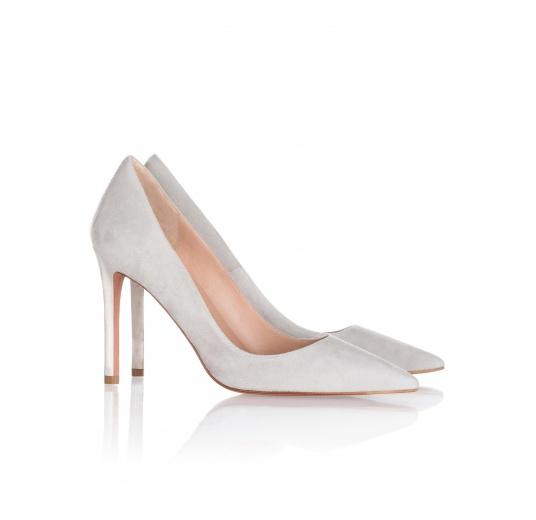 High heel pumps in grey suede Pura L�pez