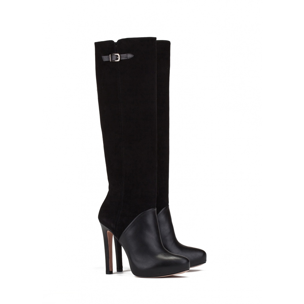 High heel boots in black leather - online shoe store Pura Lopez