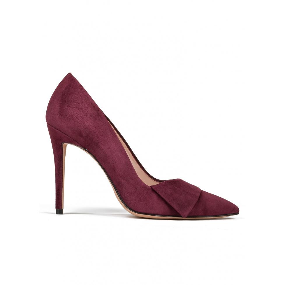Zapatos de salón con tacón alto en ante burdeos