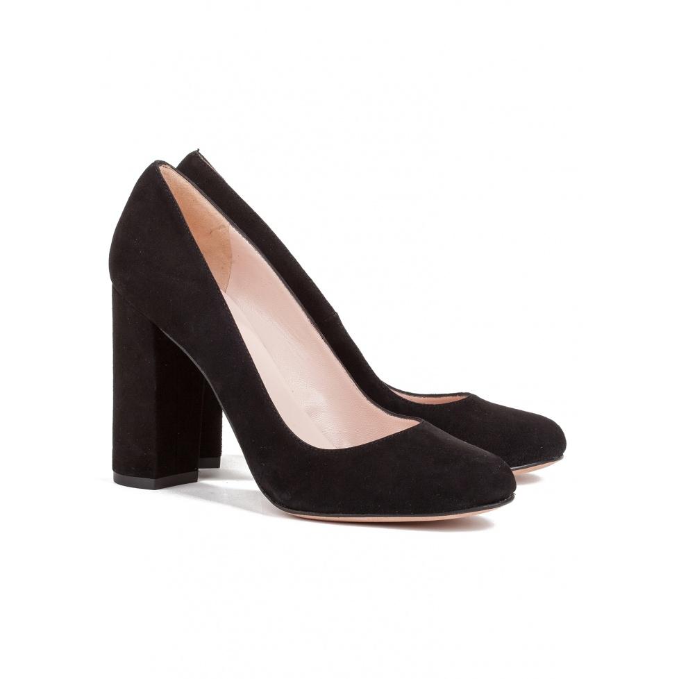 Block high heel pumps in black suede - online shoe store Pura Lopez