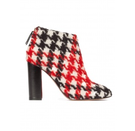 Houndstooth high block heel ankle boots Pura López