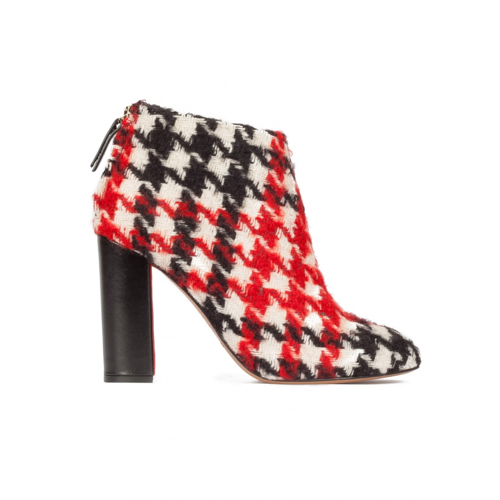 Houndstooth high block heel ankle boots