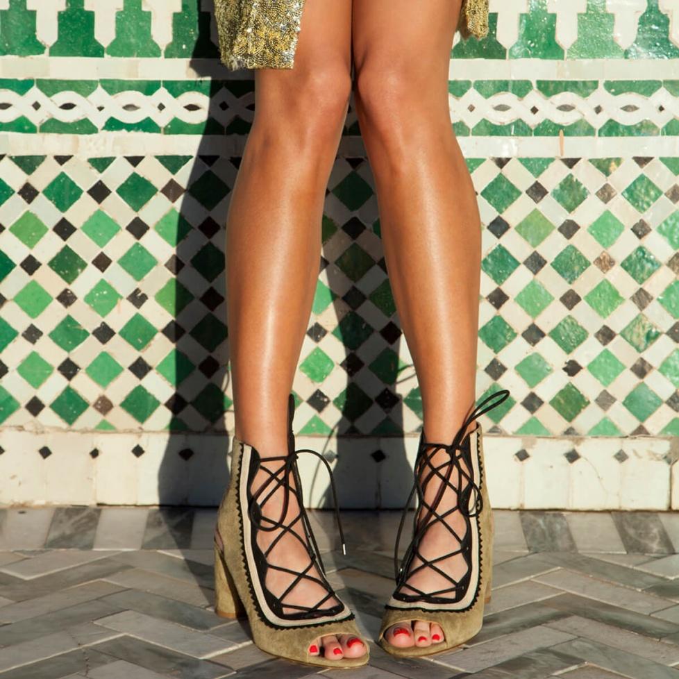 Kaki lace-up sandals - online shoe store Pura Lopez