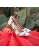 Multicolored fabric heeled pumps