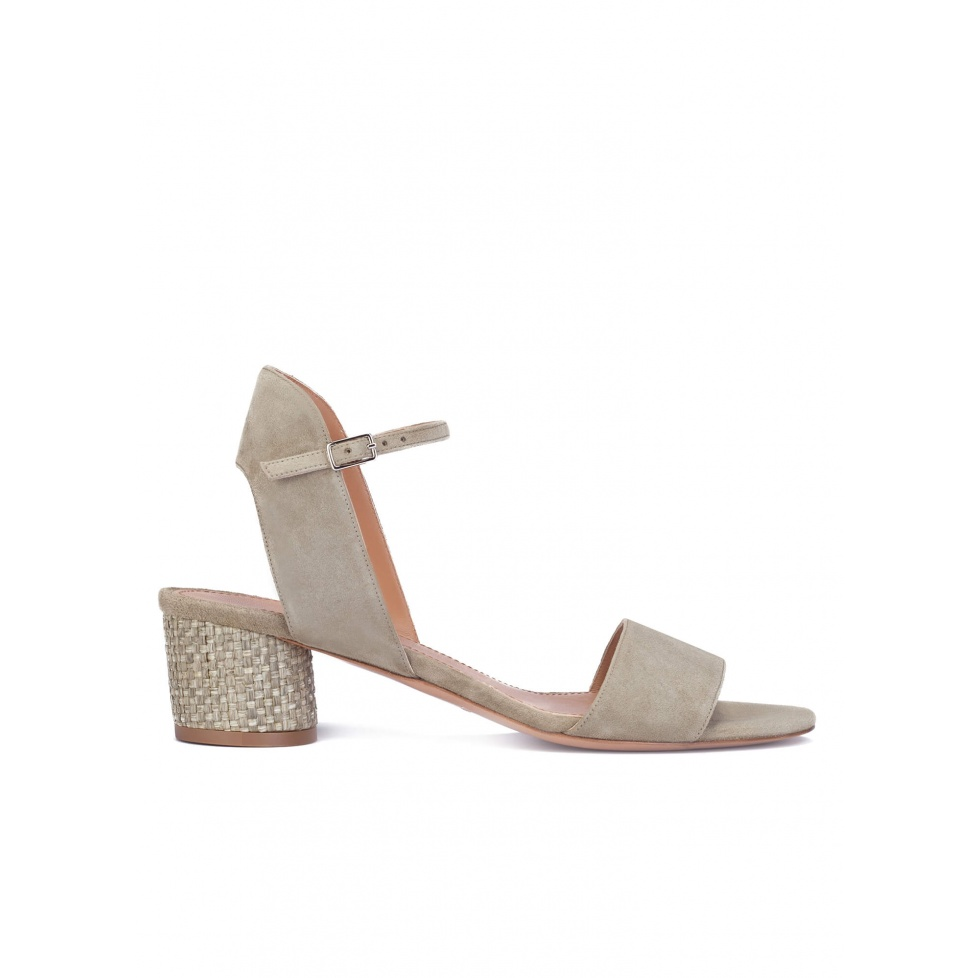 Mid block heel sandals in kaki suede