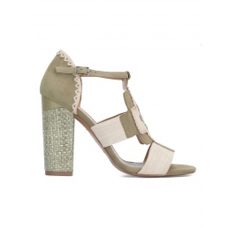 High block heel sandals in kaki and sand suede Pura López