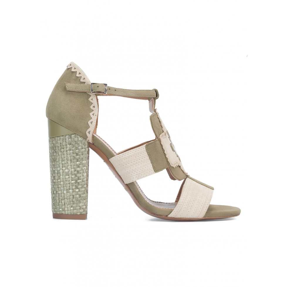 Sandalias de tacón ancho en tonos kaki y arena