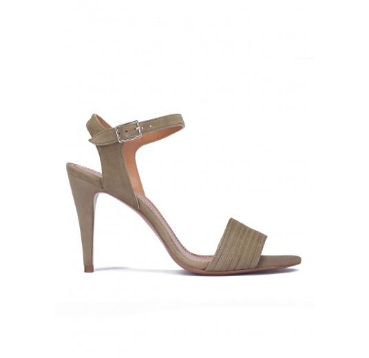 Kaki suede ankle strap high heel sandals Pura L�pez